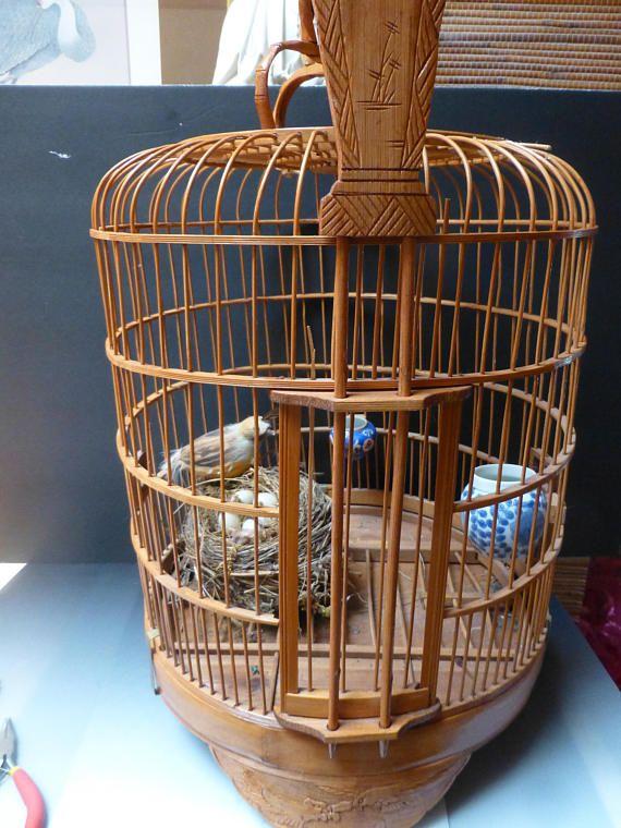 Vintage Asian bamboo Birdcage  2 porcelin bird feeders highly