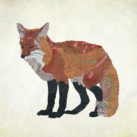 "Jason LaFerrera's ""Virginia Red Fox"", made with map cut-outs"