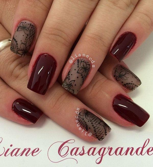 Combinación de arte con sangre roja y marrón de uñas invierno con detalles florales.  Si quieres ser elegante, pero sea sutil, entonces este es el arte del clavo perfecto que usted debe probar.