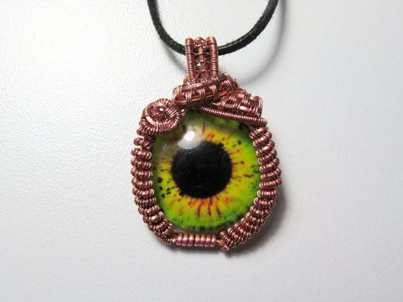 Monster Eye Necklace Wire Wrapped Trippy by KannasTreasureTrove