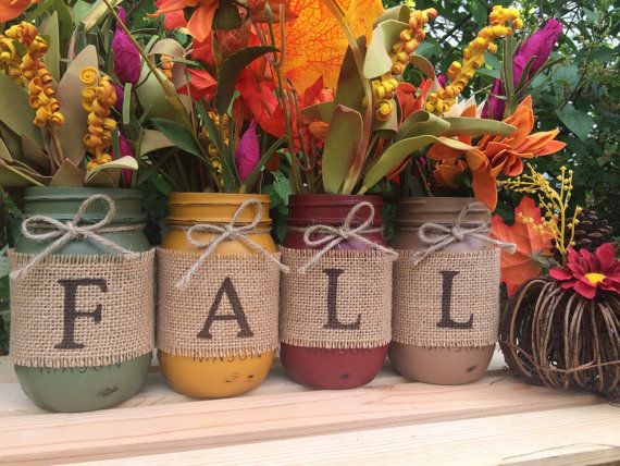 Set of 4 Hand Painted Mason Jars Autumn by MidnightOwlCandleCo
