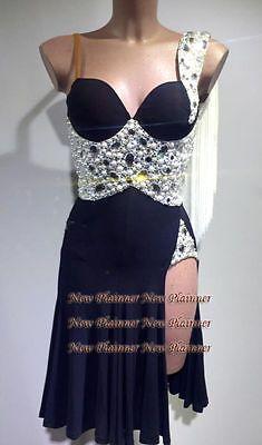 Competition Women Ballroom Salsa Rumba Latin Dance Dress US 2 UK 4 Black Sliver