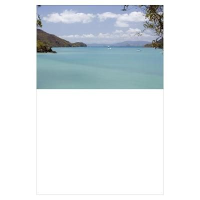 Sailing boats anchored in cove near Whitsunday Isl Poster