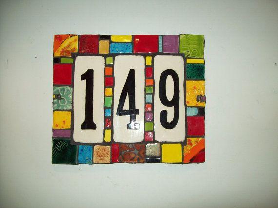 Handmade Ceramic House Number Address Tile by CustomTilesByRich, $68.00