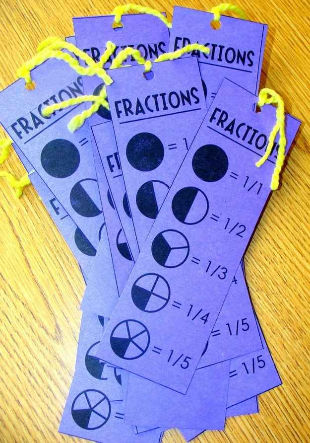 Make fraction reference cards that double as bookmarks #www.ithaca-education.co.uk