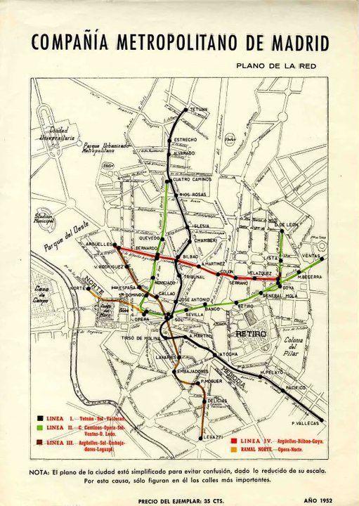 plano del metro, 1952, medio siglo de cambios.