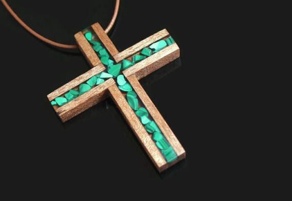 Cruz de madera Malaquita collar  Cruz de madera Boho  Cruz