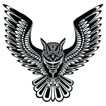 Flying owl black silhouette with a pattern on the body. — Ilustracja stockowa #81247644