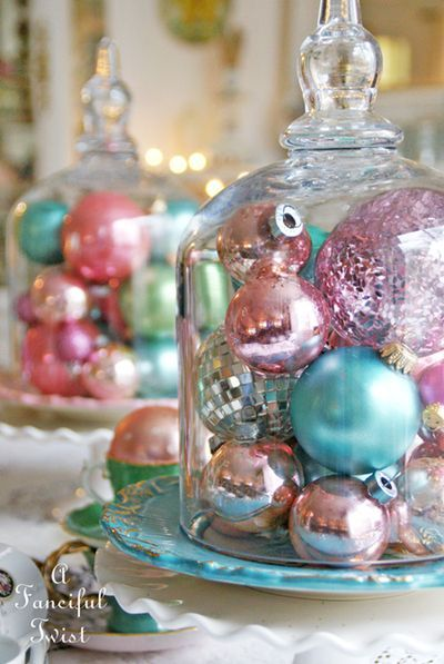 Shinny pastel Christmas ornaments display.