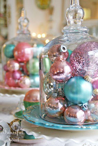 Shinny pastel Christmas ornaments display.