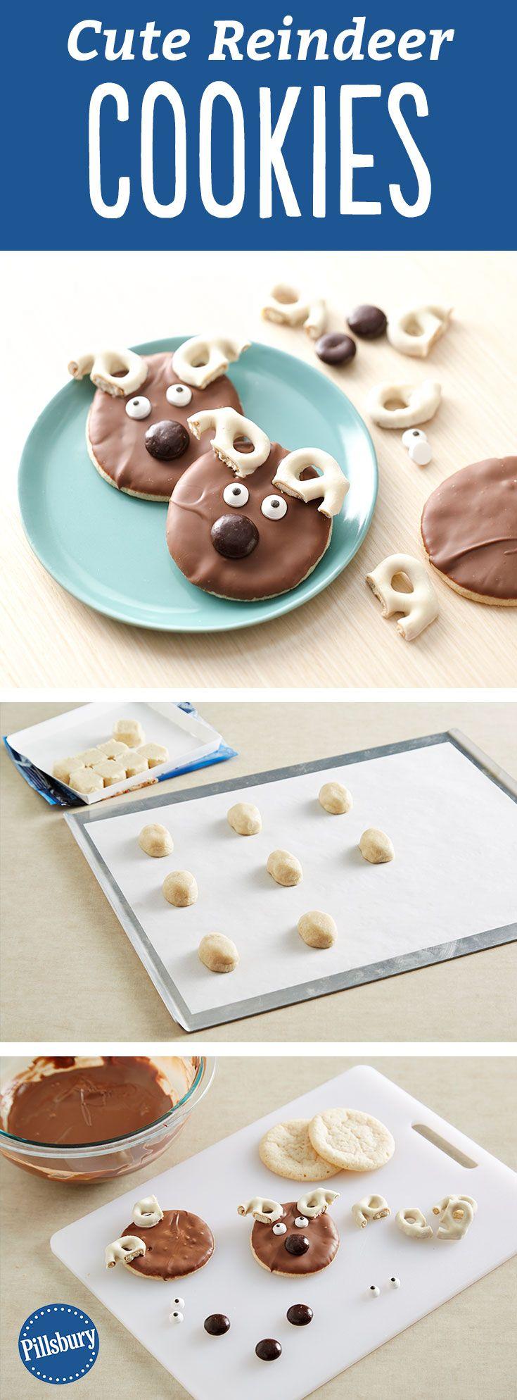 Cute Reindeer Cookies Recipe Reindeer Pillsbury And