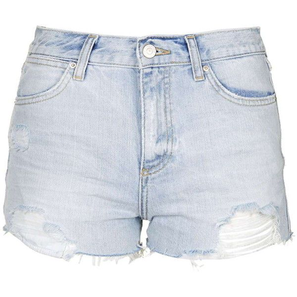 TopShop Moto Bleach Ripped Rosa Shorts (1.045 UYU) ❤ liked on Polyvore featuring shorts, bottoms, short, pants, bleach, torn shorts, short shorts, destroyed shorts, distressed shorts and bleached shorts
