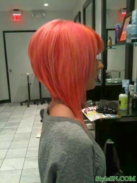 NOT THE COLOR!!  Haha.  But the style is cute.  From the front it would still look longer but short in the back.
