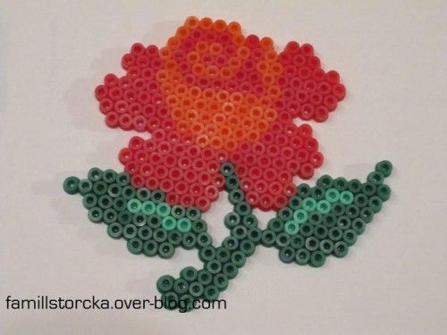 Rose hama beads by  famillestorcka