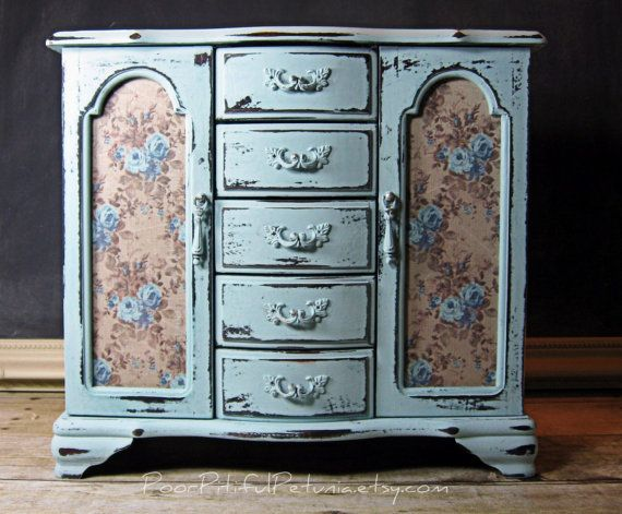 Hand Painted Dresser Jewelry Box Vintage by PoorPitifulPetunia, $92.00
