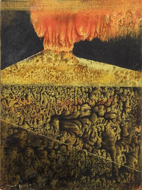 Max Ernst (French, born Germany, 1891–1976), Vulcano, late 1940s. Oil and mixed media on cardboard, 12.5 x 9 cm.