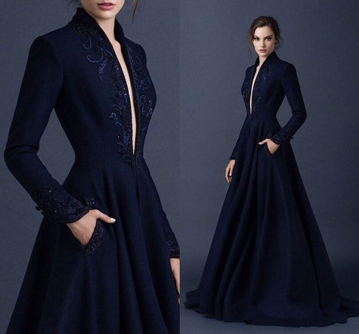 Resultado de imagen para vestidos azul oscuro largos