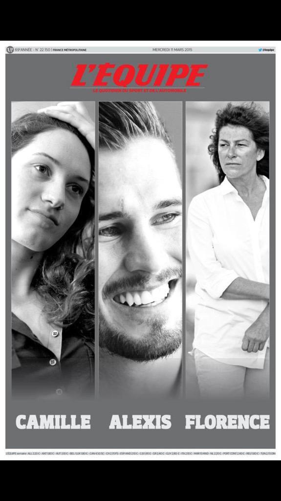 Couverture de L'Equipe en hommage aux disparus de Dropped en Argentine : Camille Muffat, Florence Arthaud et Alexis