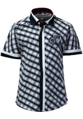 Blue coloured shirt for boys from Blazo. Crafted from cotton, this set comprises a blue coloured, chequered shirt featuring short sleeves and a zippered closure and a graphic printed, round neck T-shirt inside.