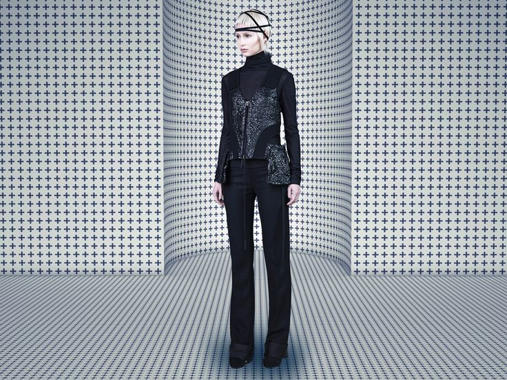 #SIMONGAO #AW #2015 #Collecting #MariaBlanchett #designer #dark #top #fashion #vogue #trend #design #chic #brand #black #show #wear #beauty #accesory #gothic #art #culture #cosmos #energy #tech #mystery #spiffy #gradient #oriental #cutting #lines #elegant #PancilPants  #wool #tencel #Top #black #BasicJersey