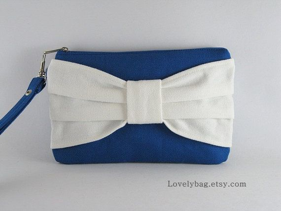 Royal Blue and Ivory Bow Clutch Bow Clutch  Bridal by lovelybag, $9.90