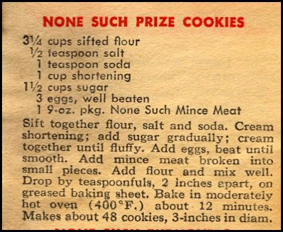 Prize Mincemeat Cookies  --  vintage recipe that has stood the test of time.