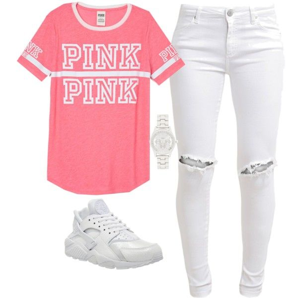 A fashion look from July 2015 featuring Victoria's Secret PINK t-shirts, FiveUnits jeans and NIKE sneakers. Browse and shop related looks.