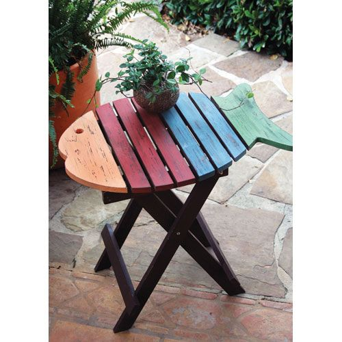 Multicolor Folding Wooden Fish Table Kalalou End Tables Patio Accent Tables Outdoor & Pati