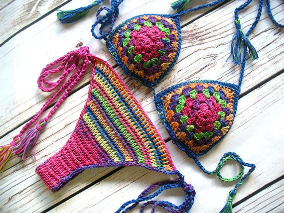 This crochet bikini set is a celebration of the bohemian style. Colors, pattern, tassels - there is everything you like about hippie, ethnic, gipsy clothing.  This bohemian crochet set is made from 100% cotton yarn with all colors mixed. It is perfect for all kind of summer activities - concerts, summer festivals, hooping, beach, shopping, belly dancing or clubbing. You can wear it with your favorite shorts, skirt or wrap.  This top fits A - B cups and will fit 32-36 bust, but it can fit…