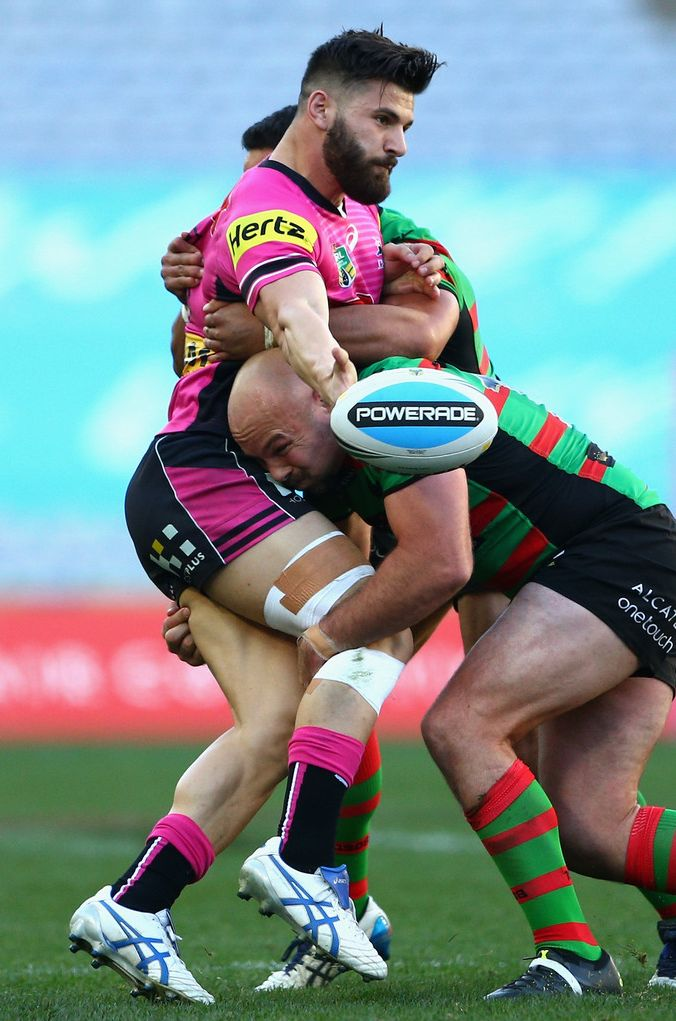 Josh Mansour of the Penrith Panthers is tackled http://footyboys.com