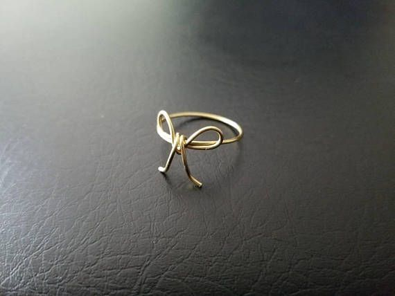#14kt #Gold or 14kt #Rosegold filled #Bow Wire ring Dainty #tiering #holiday #giftsforher #bridalshower #christmasgift #anniversarygift