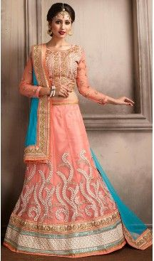 Salmon Color Net A Line Style Party Wear Lehenga Choli | FH479574047 #heenastyle, #designer, #lehengas, #choli, #collection, #women, #online, #wedding , #Bollywood, #stylish, #indian, #party, #ghagra, #casual, #sangeet, #mehendi, #navratri, #fashion, #boutique, #mode, #henna, #wedding, #fashion-week, #ceremony, #receptions, #ring , #dupatta , #chunni , @heenastyle , #Circular , #engagement