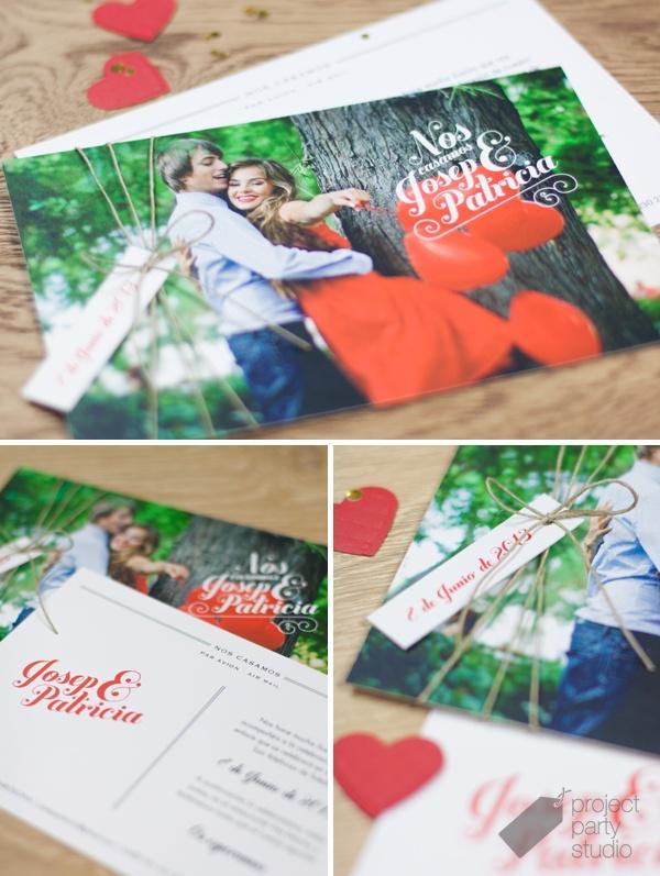 Invitación postal fotos novios. Modelo Post Card #wedding #invitation #stationery