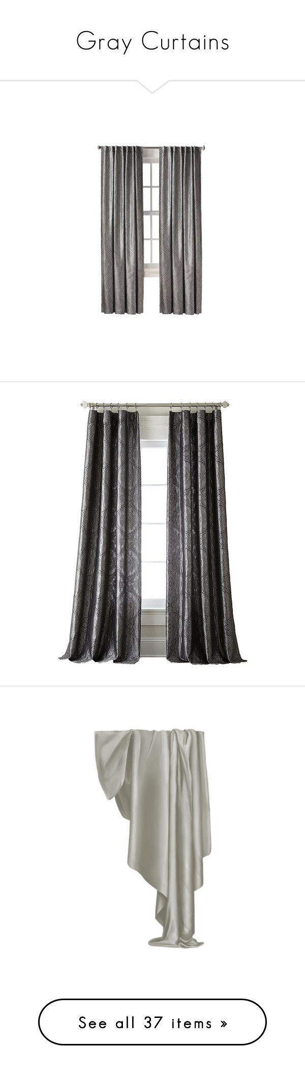 """Gray Curtains"" by lailoooo ❤ liked on Polyvore featuring home, home decor, window treatments, curtains, gray curtain panels, target curtain panels, grey curtains, gray home decor, ogee curtains and tab curtains"