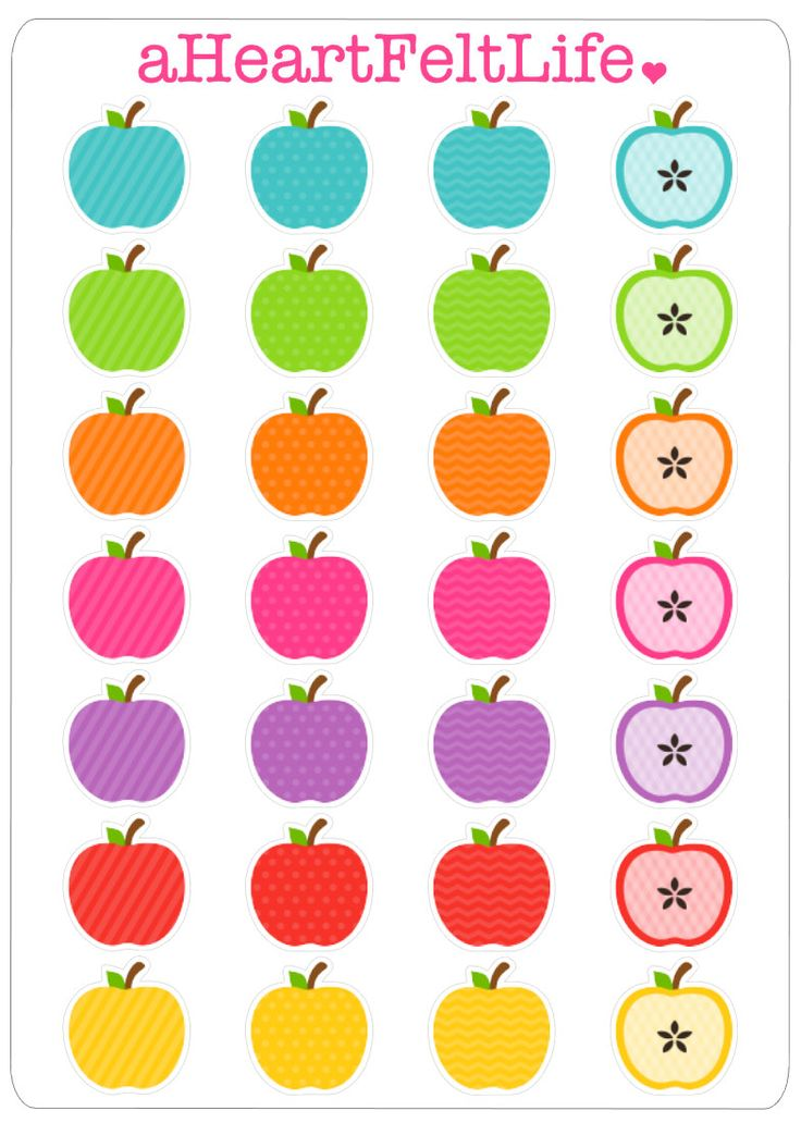 Rainbow Apple Stickers for your Planner, scrapbook ...