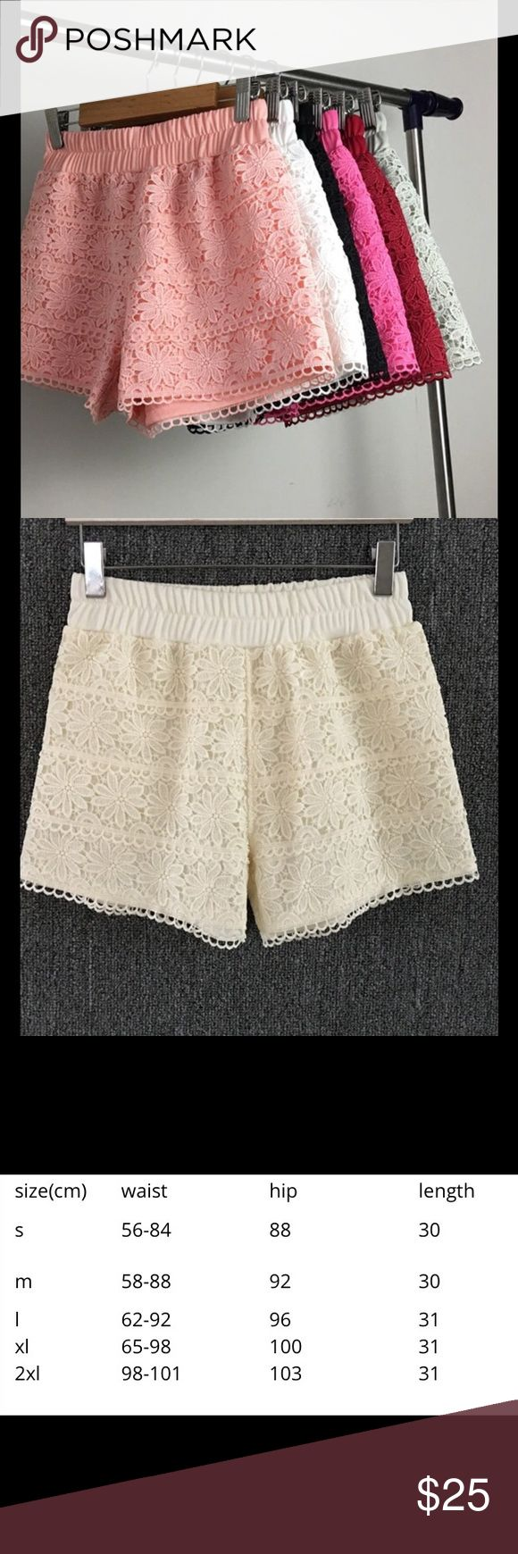 Ultra Fem Cream Lace Shorts Ultra feminine Lace shorts. Very comfortable because of the elastic waist. They are great quality. *****Please allow 14 days for delivery***** Nikki's Boutique Shorts