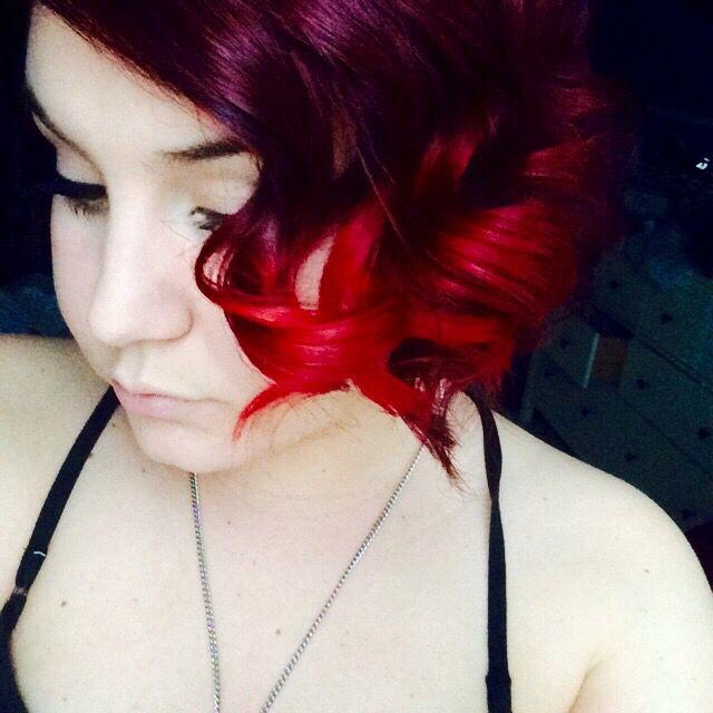 Short vampire red manic panic ombré asymmetrical hair