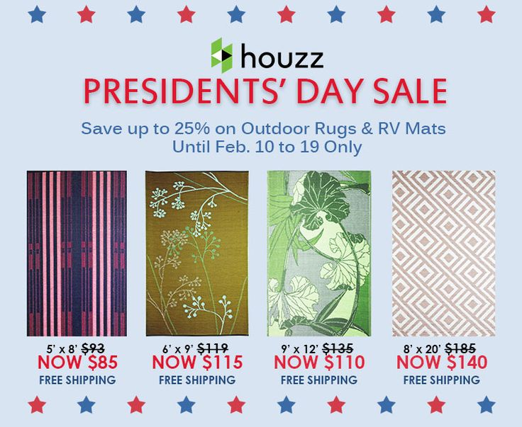 Get monumental savings at Houzz today! Save up to 25% on b.b.begonia Outdoor Rugs & RV Mats from Feb. 10 to 19 only. Head on over to this link http://www.houzz.com/photos/rugs/seller--bbbegonia if you want to take advantage of this great offering from b.b.begonia! #PresidentsDaySale #bbbegonia #houzz