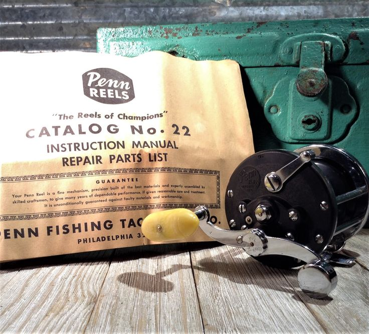 Vintage Penn 165 Beachmaster Reel With Manual #22, 1950s Beachmaster Fishing Reel Penn 165 Collectible Reels, Penn Reel Catalog & Parts Book