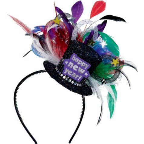 Jewel Tone Feathered Hat Headband - Party City