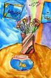 #Flowers in a vase #watercolor by Melissa, grade 3, Pioneer Bilingual Elementary School #art4literacy #art #education #nonprofit