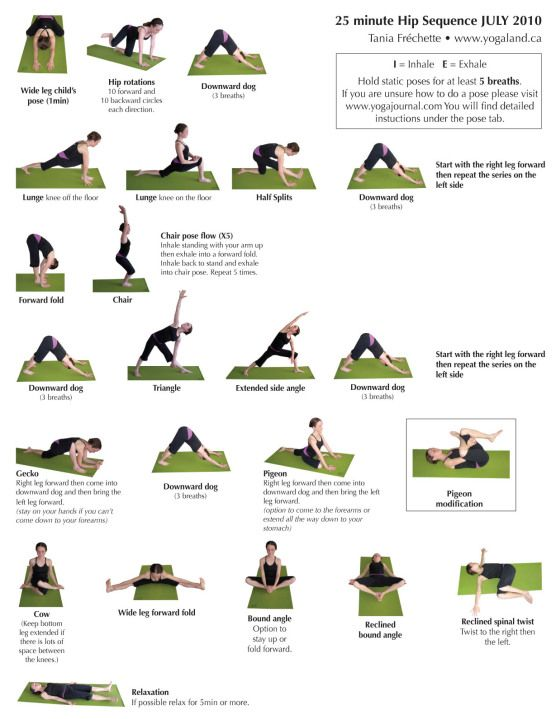 Easy poses to do at home: Hip sequence   with Tania Frechette   yogaland.ca  Great for low back + hip tension!