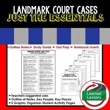 Landmark Supreme Court Cases Outline Notes JUST THE ESSENTIALS Unit Review, Study Guide, Test Prep ➤➤ Civics Outline Notes, Civics Test Prep, Civics Test Review,Civics Study Guide, Civics Summer School Outline, Civics Unit Reviews, Civics Interactive Notebook Inserts