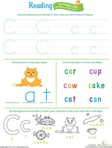 Get Ready for Reading: All About the Letter C Worksheet