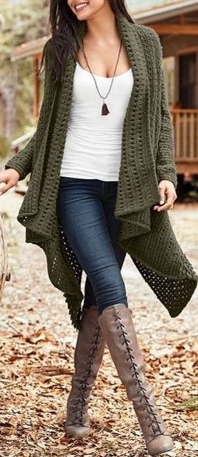 #Winter #Outfits / Oversized Knit Cardigan + Lace Up Boots