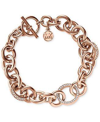 Michael Kors Rose Gold-Tone Crystal Toggle Bracelet - Macy's