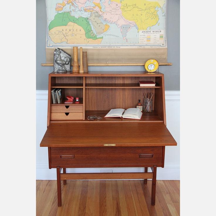 Vintage Teak Secretary Desk for Kids room