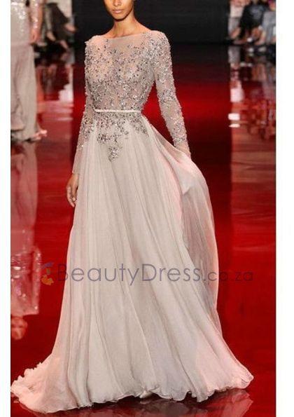 Silver Chiffon A-line Floor-length Long Sleeve Scoop Appliques Backless Prom Dress - 40994649 - Prom Dresses