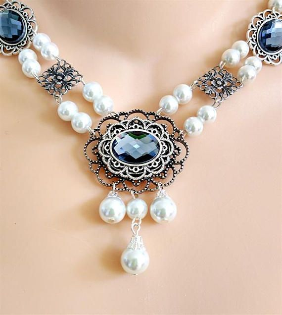 This hand-crafted, professionally made jeweled necklace was created based on the jewelry worn by royalty and the landed gentry of the Medieval and Renaissance Eras. It will add that finishing touch to any noblewomans attire.      THIS IS NEW COLOR OF CABOCHON FOR ME....IT IS CALLED