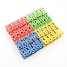 20x Heavy Duty Plastic Laundry Clothes Pins Color Hanging Pegs Clips ABD122